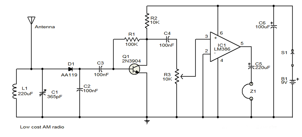 Low Cost Am Direct Coupled Radio Circuit Diagram ... Radio Schematic Wiring Diagram on