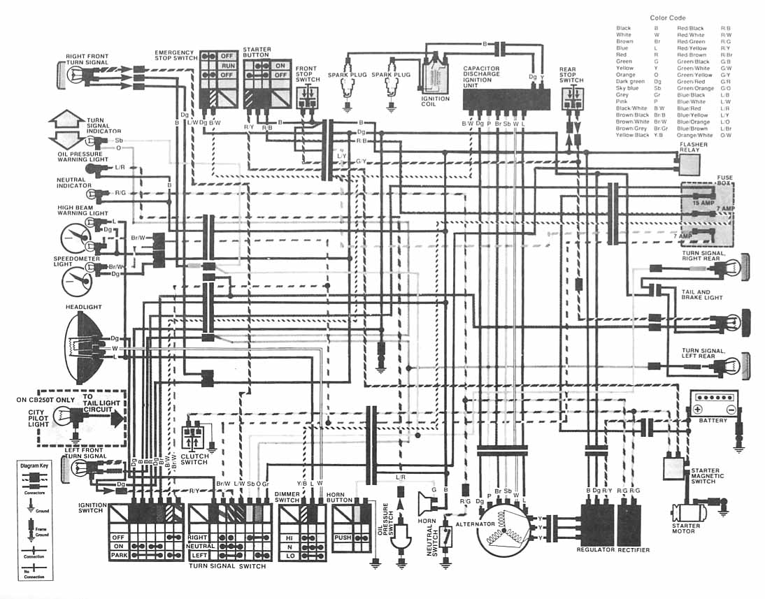 Honda Motorcycle CB400 (Hawk II) Wiring Diagram