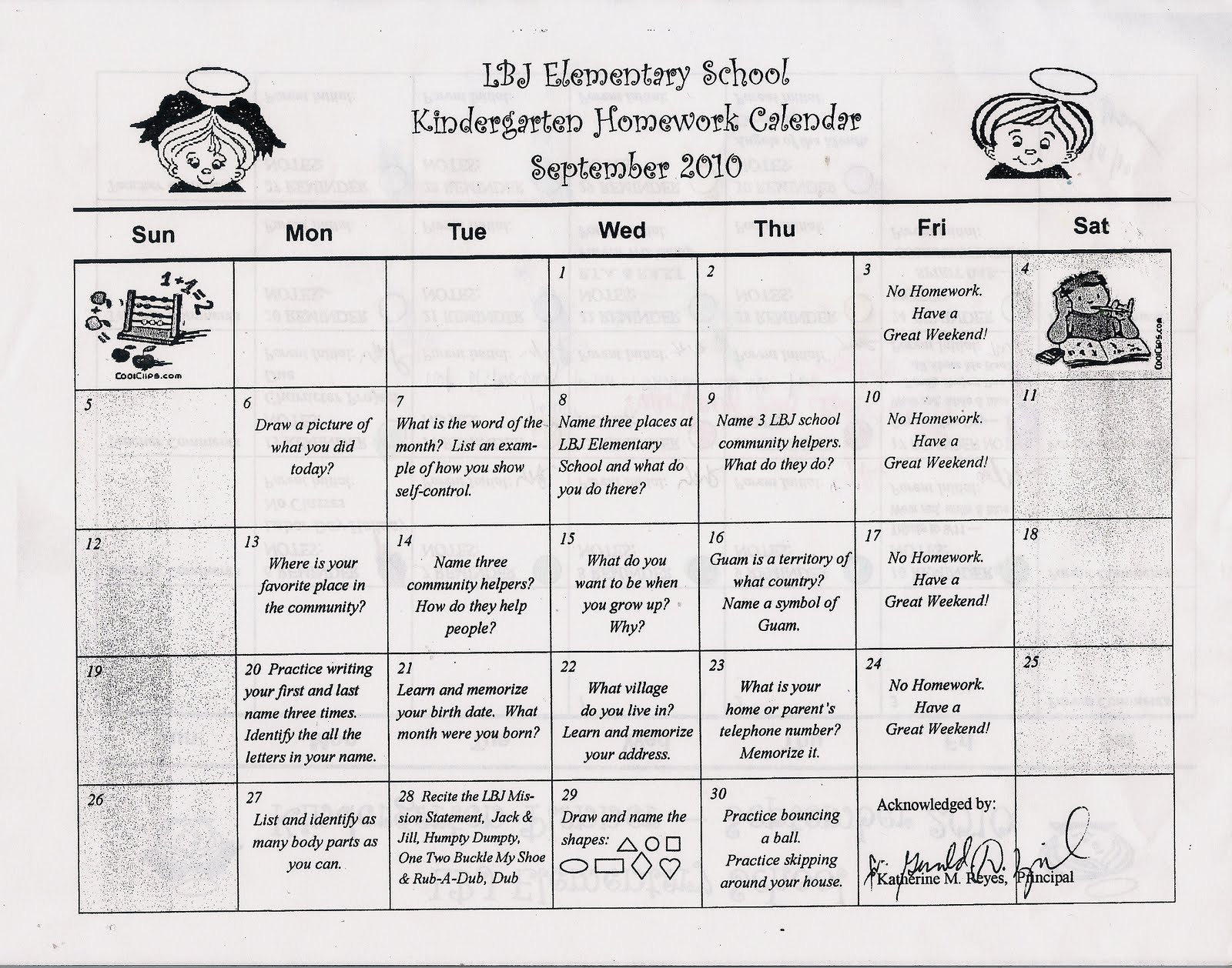 Kindergarten News At Lbj Kindergarten September Homework Calendar