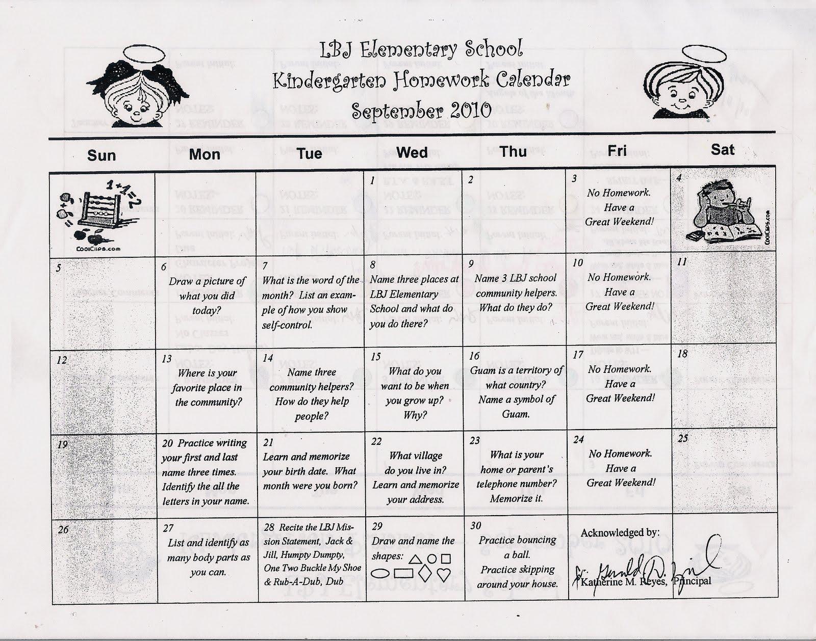 Kindergarten News At Lbj Kindergarten September Homework