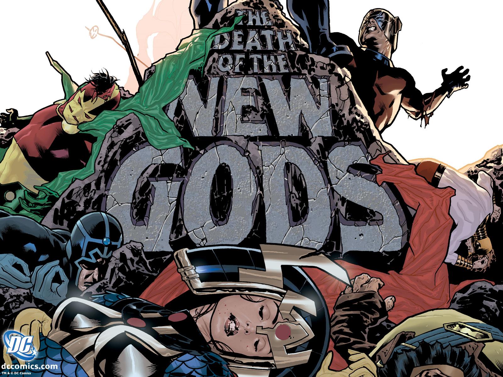 Peça promocional da Morte dos Novos Deuses com arte de Adam Hughes.