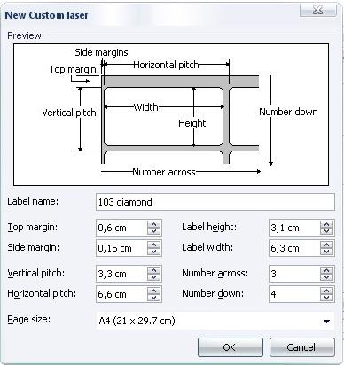 Mengatur ukuran label sesuai dengan label yang dibutuhkan