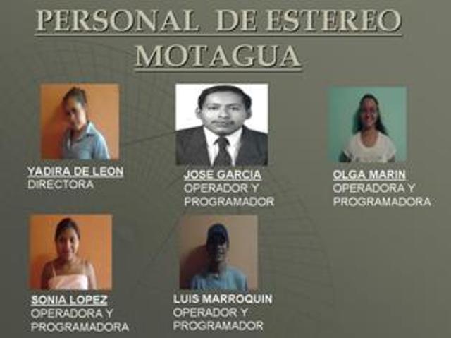 PERSONAL DE ESTEREO MOTAGUA 101.5 F.M.