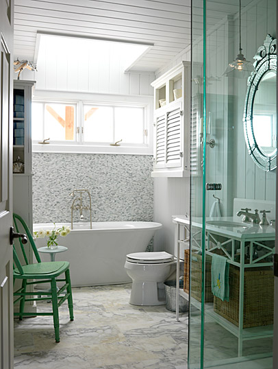 Cheery green in a luxurious cottage style bathroom in a lakehouse