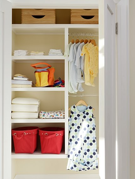 Organized closet in nursery by Sarah Richardson
