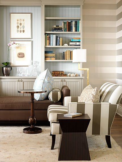 Bronze stripes on wallpaper and upholstery