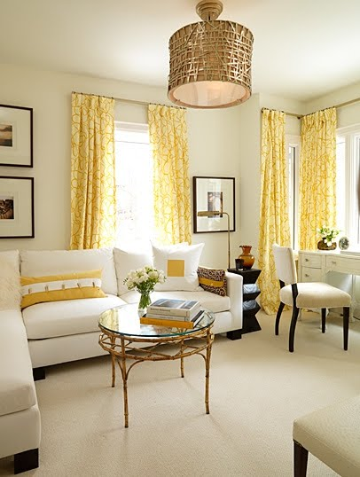 Neutral room with Sarah Richardson furniture and yellow accents