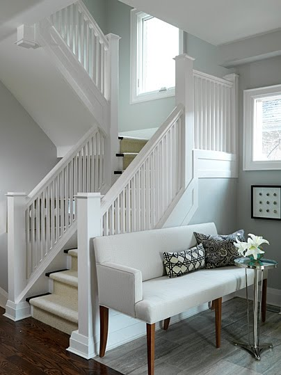 Sarah Richardson bench in beautiful entry with staircase