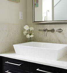 Elegant bathroom with raised basin sink