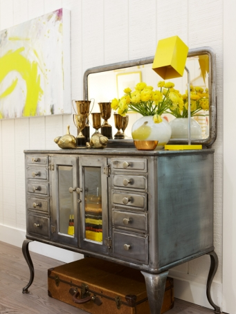 Zinc paint finish on vintage glass front door cabinet in modern farmhouse design by Sarah Richardson