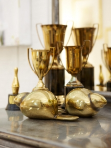 Shiny brass trophy cups