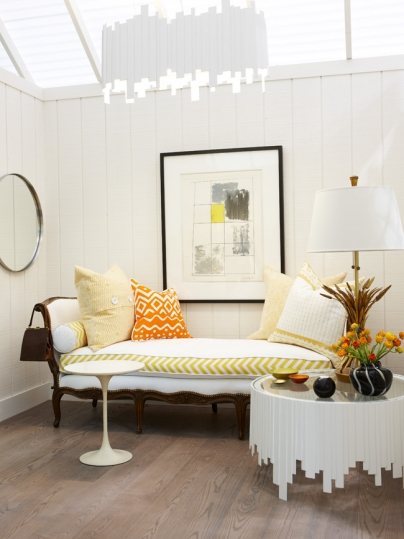 Antique daybed with modern upholstery in modern farmhouse room by Sarah Richardson