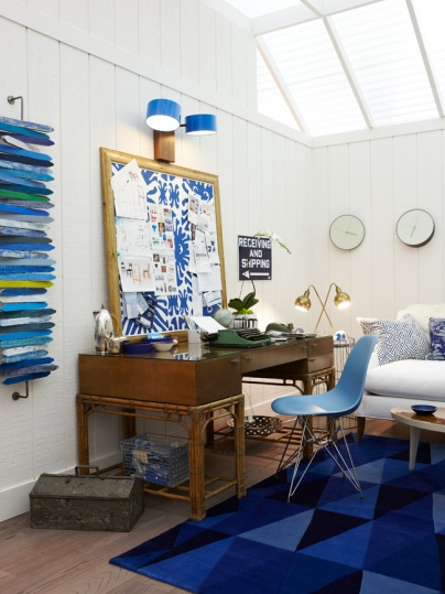 Bright blue modern farmhouse office with shiplap by Sarah Richardson