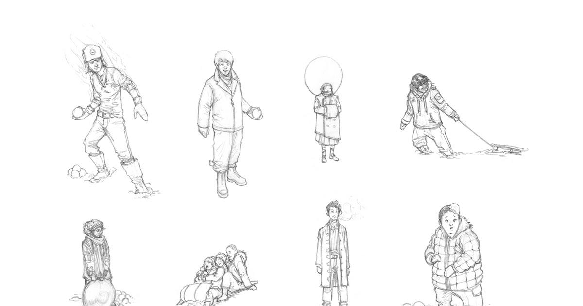 John-Paul Balmet: Rocket Summer: Snow Kids Ideas (Rough)