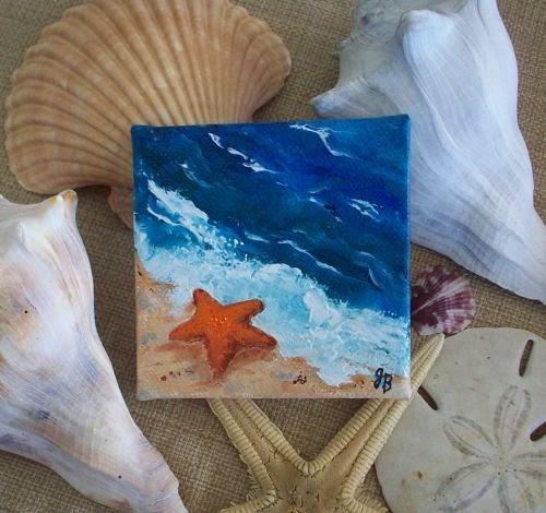Judy Batterson Florida Art: Starfish, A Mini Oil Painting