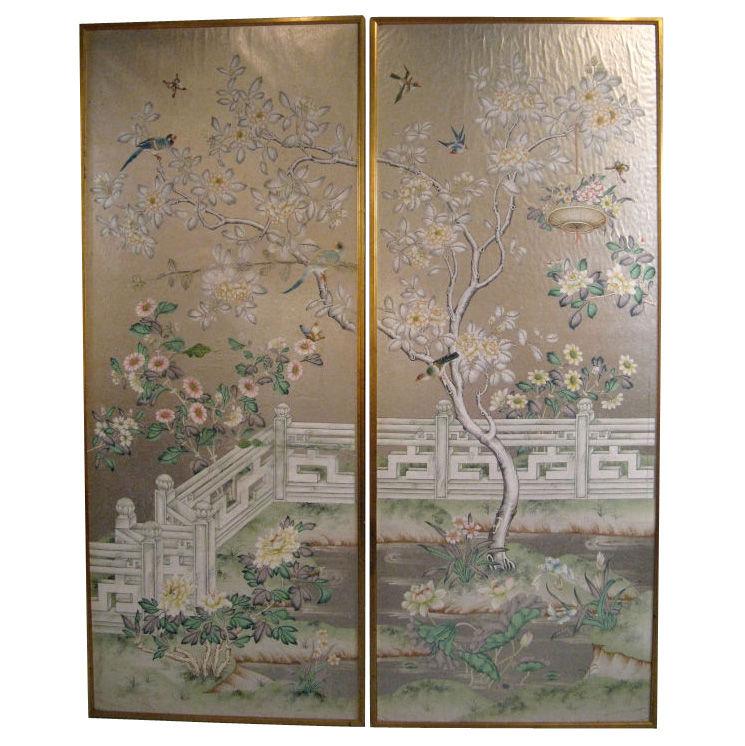Chinoiserie Chic Framed Chinoiserie Wallpaper Panels