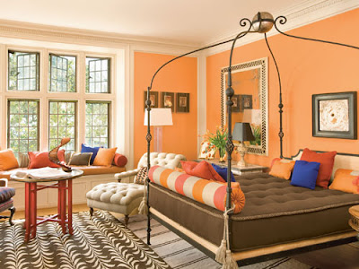 I Love The Orange Walls And Mix Of French Moderne Italian English With Bold Graphics Notice Use Red Blue Accents