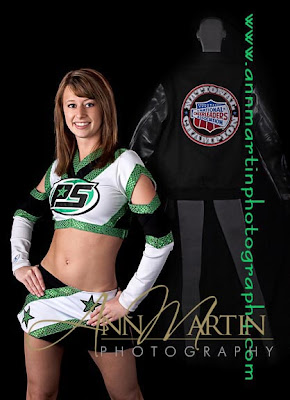 Dallas Texas senior pictures or portraits photographers photography of high school senior cheerleading studio pictures pose with NCA nation championship jacket and her Pro Spirit competition cheerleading in McKinney Texas  cheerleading uniform