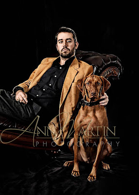 formal portrait of singer songwriter Russel Huie and his dog Duke for ep produced by Canon Records