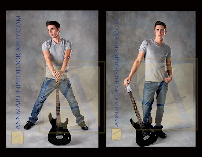 senior boy studio picture poses with guitar