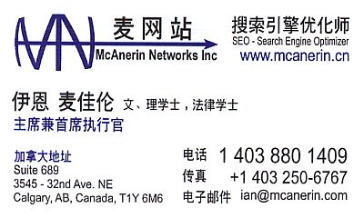 Ian McAnerin Business Card for Chinese Search Marketing