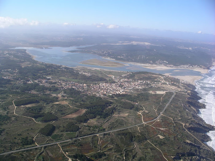 aerial views of Foz do Arelho/ Obidos Lagoon