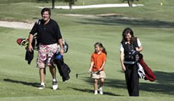 Golf enthusiasts and Grammy award winners Vince Gill and Amy Grant, and daughter, Corrina, spokesfamily for Family Golf Month