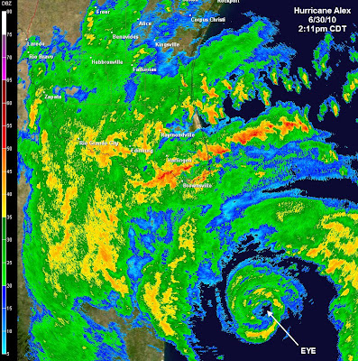 Radar image of Hurricane Alex