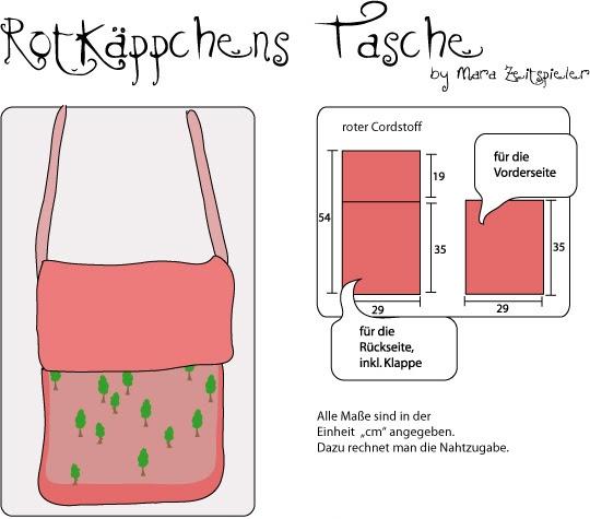 Schnittmuster - Rotkäppchens Tasche ~ Mara Zeitspieler