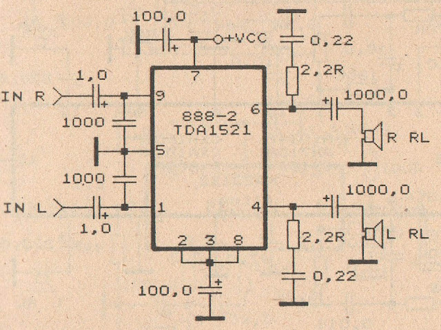 Circuit Audio Amplifer with IC TDA 1521