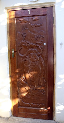 Buffalo carved on guest room door TeTemuka B&B Kokstad KwaZulu-Natal South Africa