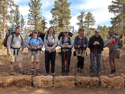 2008 Staff ready to hike rim to rim North Rim Grand Canyon National Park Arizona