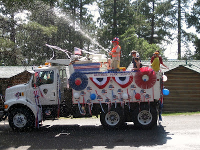 National Park Service truck decorated in 4th of July parade North Rim Grand Canyon National Park Arizona