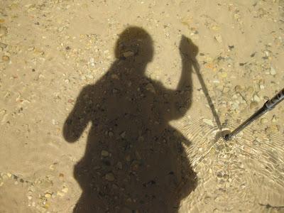 Gaelyn's shadow in Virgin River Zion National Park Utah