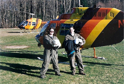 Shannon and Gaelyn suited up with helicopter Cougar Washington