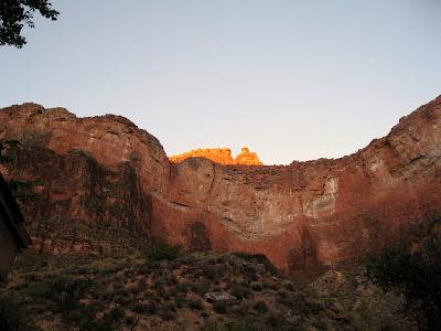 Morning light on canyon wall Grand Canyon National Park Arizona