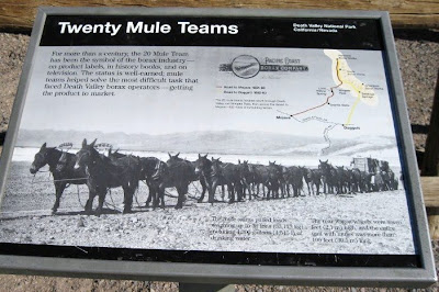 Interpretive sign for 20 Mule Team wagon Harmony Borax Works Death Valley National Park California