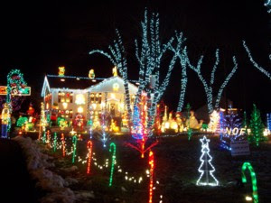 photo of Christmas lights, Lynn Fells Parkway, Saugus