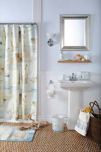 Redecorating with beach bathroom decor for Beach themed bathroom sets