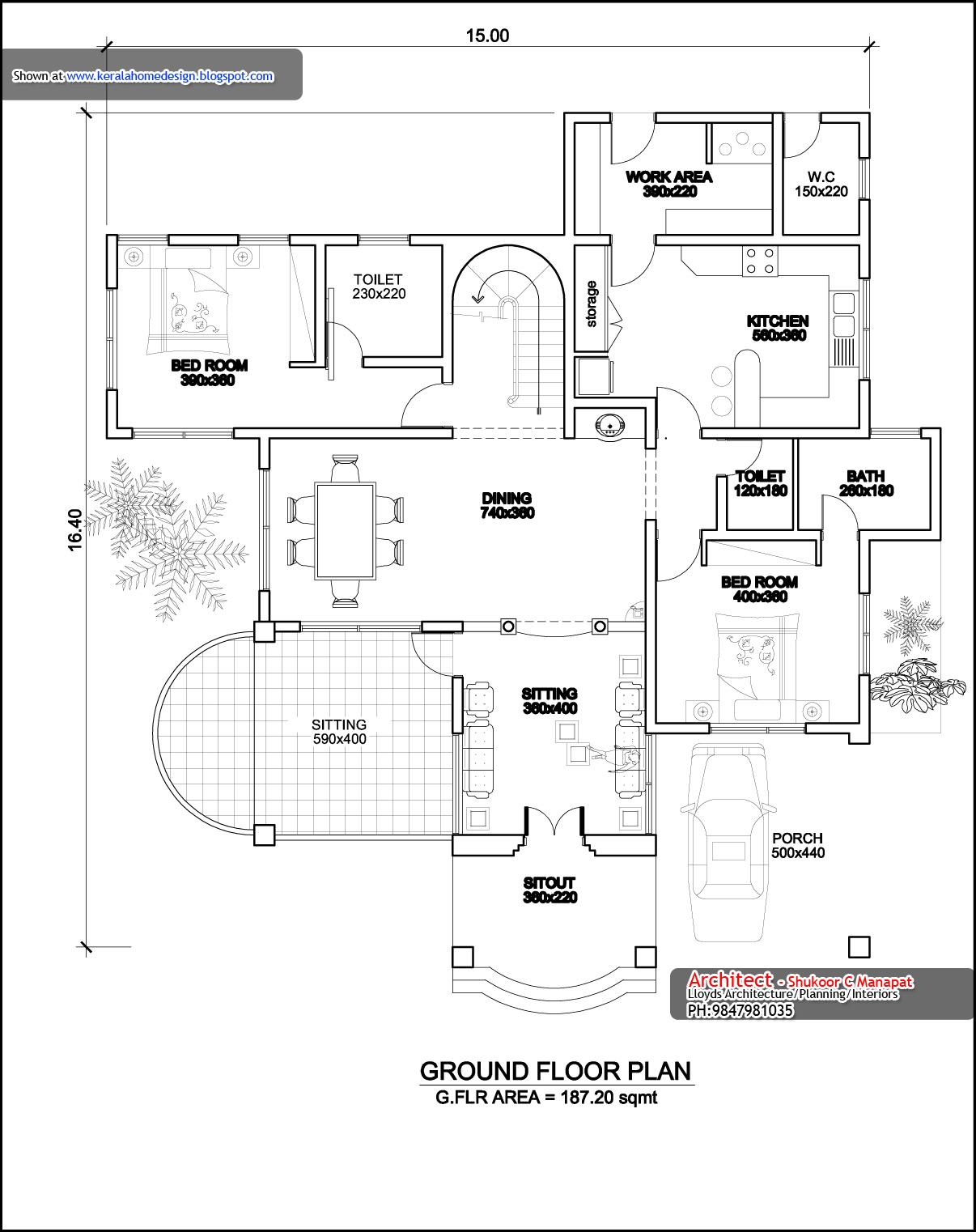 Kerala home plan elevation and floor plan