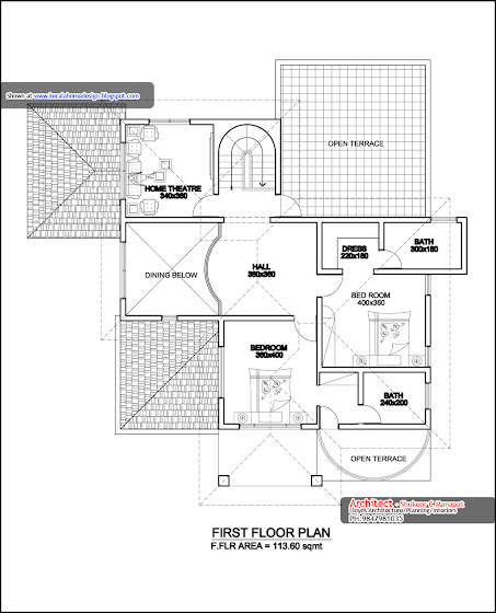 3000 sq ft. house - first floor plan in Kerala