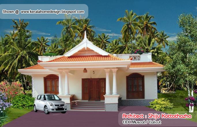 Kerala style single floor house plan 1155 sq ft for Pakistani simple house designs