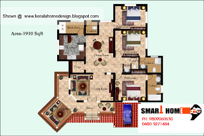 Kerala Home plan and elevation - 1910 Sq. Ft. - Single Floor Home Plan