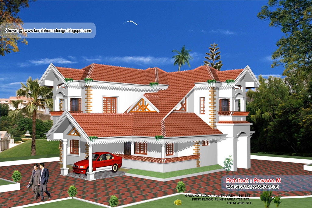 Home plan and elevation - 2001 Sq Ft ~ Kerala House Design Idea - total 3d home design