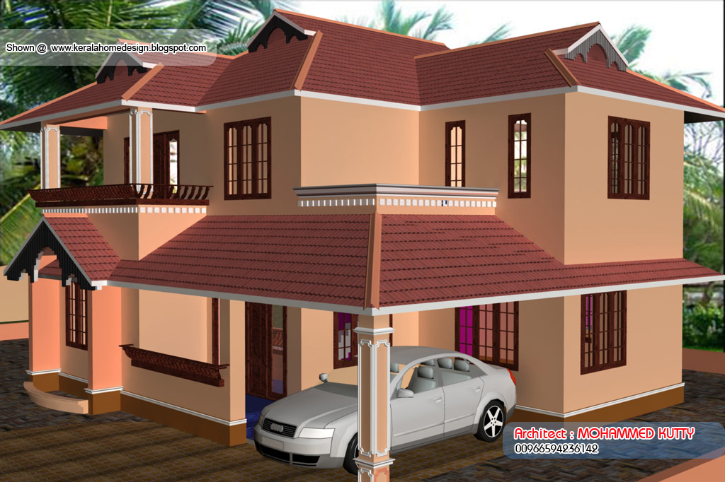 Home plan and elevation 2085 sq ft for Interlocking brick house plans