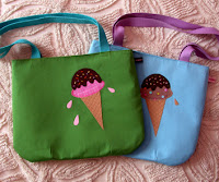Ice Cream Cone bags at Sew Darn Cute :  handmade accessories kids ice cream