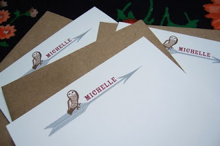 Etsy Owl Personalized Stationery- Giveaway Today at MyMomShops