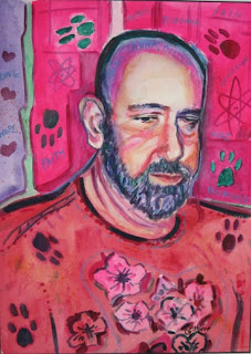 Painting of John. Background in pink and rose tones shows paw prints in blue-green tones. John's sweater also has paw prints and dogwood(?) blossoms.