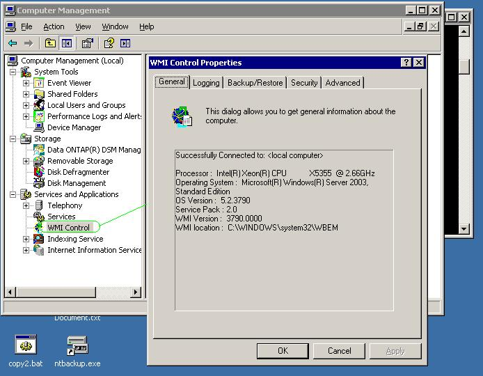 ActiveDirectory and Exchange Solutions: NTBACKUP not working
