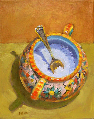 Sugar Bowl & Spoon: 8 x 10 small oil painting on canvas, sterling silver spoon, kitchen art, pottery bowl daily art Marie Fox